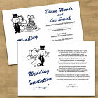 Funny 2 Sided Day & Eve Personalised Wedding Invitations - With Gift Money Poem