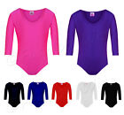 Ages (2-18) Girls Gymnastics Leotard Stretchy Dance Sports Sleeve Top Uniform...