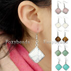 Pair Rhombus Gemstone Quartz Bead Dangle Hook Eardrop Earring Womens Jewelry