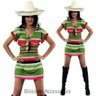 CSW23 Mexican Poncho Green Yellow Womens Costume Fancy Dress Wild West Fiesta