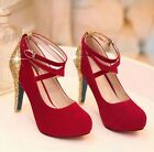 Sexy Ladies Fashion Faux Suede Strap Sequins Platform Pump Weddding Dress Shoes
