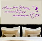 Aim for the moon wall art sticker, decal , Mural , Quotes , Text , Décor