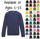 Boys Girls Unisex Jumper Sweatshirt Crew Round Neck School Uniform Ages 1-15