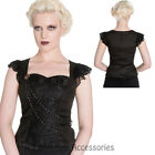 RKP99 Hell Bunny 50s Black Ophelia Gothic Dark Lace Steampunk Victorian Top Punk