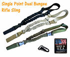 1 One Single Point 2 Bungee HK Hook Tactical Rifle Gun Sling USA MADE Black/Tan