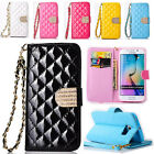 For Samsung Galaxy Series S7 Luxury Diamond Leather Flip Wallet Case Stand Cover