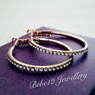 Simulated Diamond/Hoop Earring with Crystal/Rose gold/RGE115