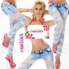 Sexy Women's Lace Jeans Skinny Denim Pants Washed Size 6 8 10 12 14 XS S M L XL