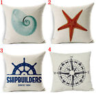 Ocean Beach Style Cotton Linen Pillowcase Conch Starfish Sofa Car Cushion Cover