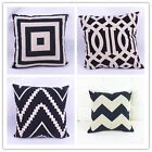 Fashion White&Black Lattice Geometric Cotton Linen Pillowcase Sofa Cushion Cover
