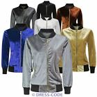 WOMENS MA1 SOFT VELVET LIGHTWEIGHT BOMBER LADIES SUMMER RETRO CLASSIC JACKET TOP