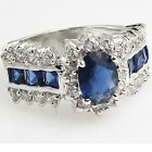 Exquisite women's Blue Saphire Sterling Silver over 18K gold fill engagement