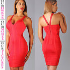 Womens New Sexy Cherry Red Mesh Sweetheart Sleeveless Open Back Bandage Dress