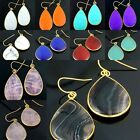 Women Rose Quartz Turquoise Carnelian Cat's Eye Teardrop Gemstone Hook Earrings