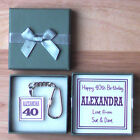 PERSONALISED BIRTHDAY GIFT IN BOX AGE NUMBER KEYRING MALE FEMALE BLACK PURPLE