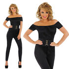 Ladies Black Sandy D Fancy Dress Costume 50S High School Grease Outfit