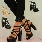 NEW WOMENS CAGED SANDALS LADIES GLADIATOR PLATFORM HIGH HEEL CHUNKY SHOES SIZE