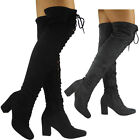 NEW WOMENS LADIES OVER THE KNEE THIGH BOOTS HIGH HEEL LACE UP PEEPTOE SHOES SIZE