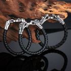 Hot Punk Gothic Male Bikes Jewelry Leather Stainless Steel Classic Mens Bracelet