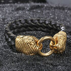 Hot Punk Male Jewelry Leather Gold Stainless Steel Snake Classic Mens Bracelets