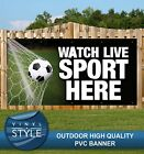 WATCH LIVE SPORT HERE PUB FOOTBALL RUGBY PVC BANNER PROMOTIONAL VARIOUS SIZES