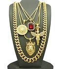 New Medusa, Red Stone, Angel & King Lion Pendant & Chains Necklace Set - RC1764