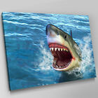 A329 Ocean Great White Shark Leaping Canvas Wall Art Animal Picture Large Print