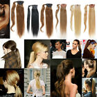 "16""-24"" Long Straight Clip In Ponytail  Wrap Around Human Hair Extension 80g"