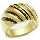 Grooved No Stone Epoxy Gold EP Ladies Cocktail Ring