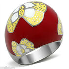 Butterfly Huge Dark Red Epoxy Silver Stainless Steel Ladies Ring New