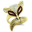 Foxy With Red & Clear Crystal Stones Gold EP Ladies Ring