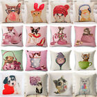 Cartoon Chubby Cat Cotton Linen Pillow Cover Sofa Throw Cushion Cover Home Decor