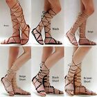 New Women LTy45 Black Brown Beige Gold Studded Gladiator Knee High Tall Sandals