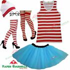 Ladies Girls RED & WHITE STRIPED fancy dress costume Book Week Hen Party outfit