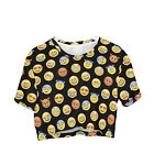 Girls Women's Cropped Baggy Oversize T-shirt Festival Summer Crop Top Party Emoj