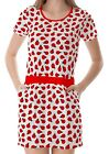White Ladybug Pattern Women's Clothing Top Dress With Pockets