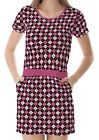 Pink Black White Argyle Women's Clothing Top Dress With Pockets
