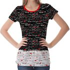 Black Valentine Pattern Womens Ladies Short Sleeve Top Shirt Blouse