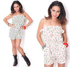Women's Casual Summer Beach Bohemian Boho Chic Print Ruffled Romper Shorts USA