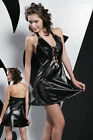 8027J Faux Leather Lace-up Front Halterneck Zipper Back Backless Dress & Thong