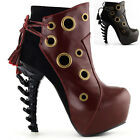 Punk Red/Brown Ring Lace-Up Bone Heel Platform Ankle Boots Size 4/5/6/7/8/9/10