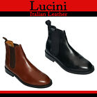 Real Italian Leather Mens Chelsea Boots Black & Tan Size 6-10