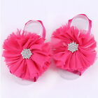 Cute Kid Girls Baby Sandals Chiffon Sock Barefoot Toe Blooms Flower Shabby Shoes
