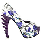Purple Skull Rose Peeptoe Platform Bone Heel Club Pumps Size 4/5/6/7/8/9/10