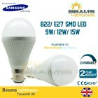 B22/ E27 DIMMABLE Samsung SMD LED  9W 12W 15W Bayonet WARM/COOL WHITE Bulb Globe