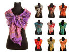 Ladies Evening Silk Scarf Wrap Stole With Small Rose Detail