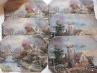 6 Thomas Kincaid Tapestry Placemats - 2 Lighthouse & 4 Cottage by Bridge