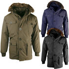 Mens Padded Fur Lined Hood Parka Jacket  Mens Size
