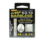 MIDDY 63-13 Barbless Hooks to Nylon 12 - 20 Hook sizes  Carp Coarse Fishing