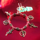 HOTI Hemp Handmade Pink Charm Bracelet Ladies Love Cupid Heart Angels Metal NWT